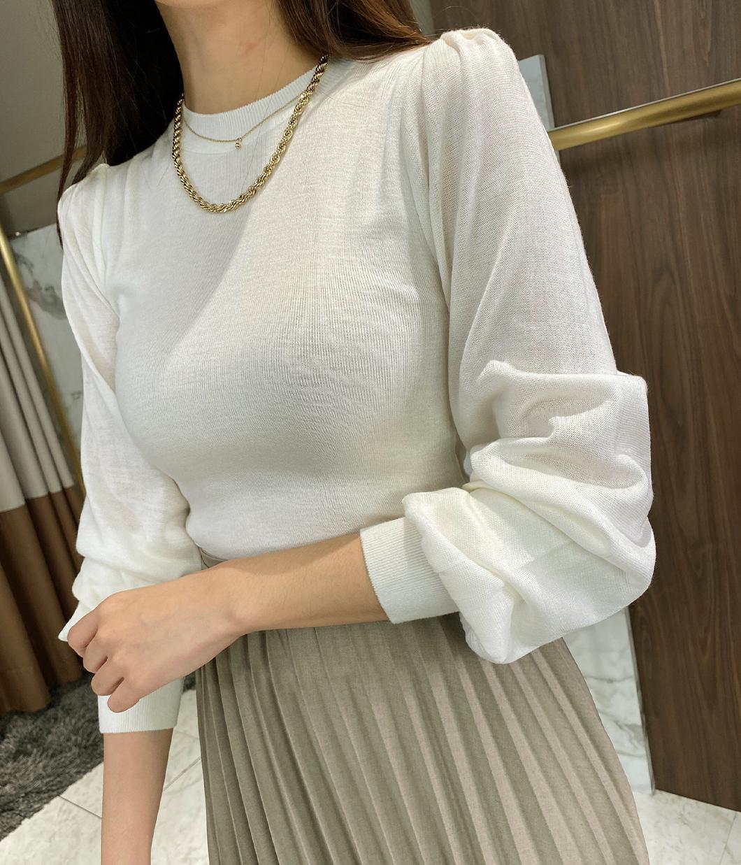 甜美澎袖設計針織上衣