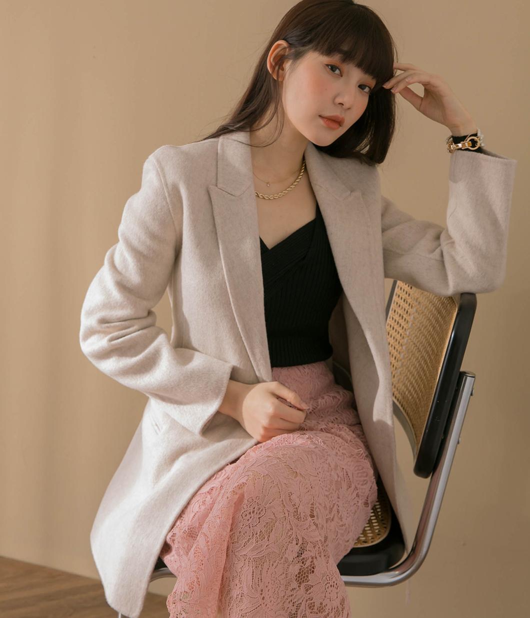 1.經典版型90%羊毛西裝外套(附綁帶)