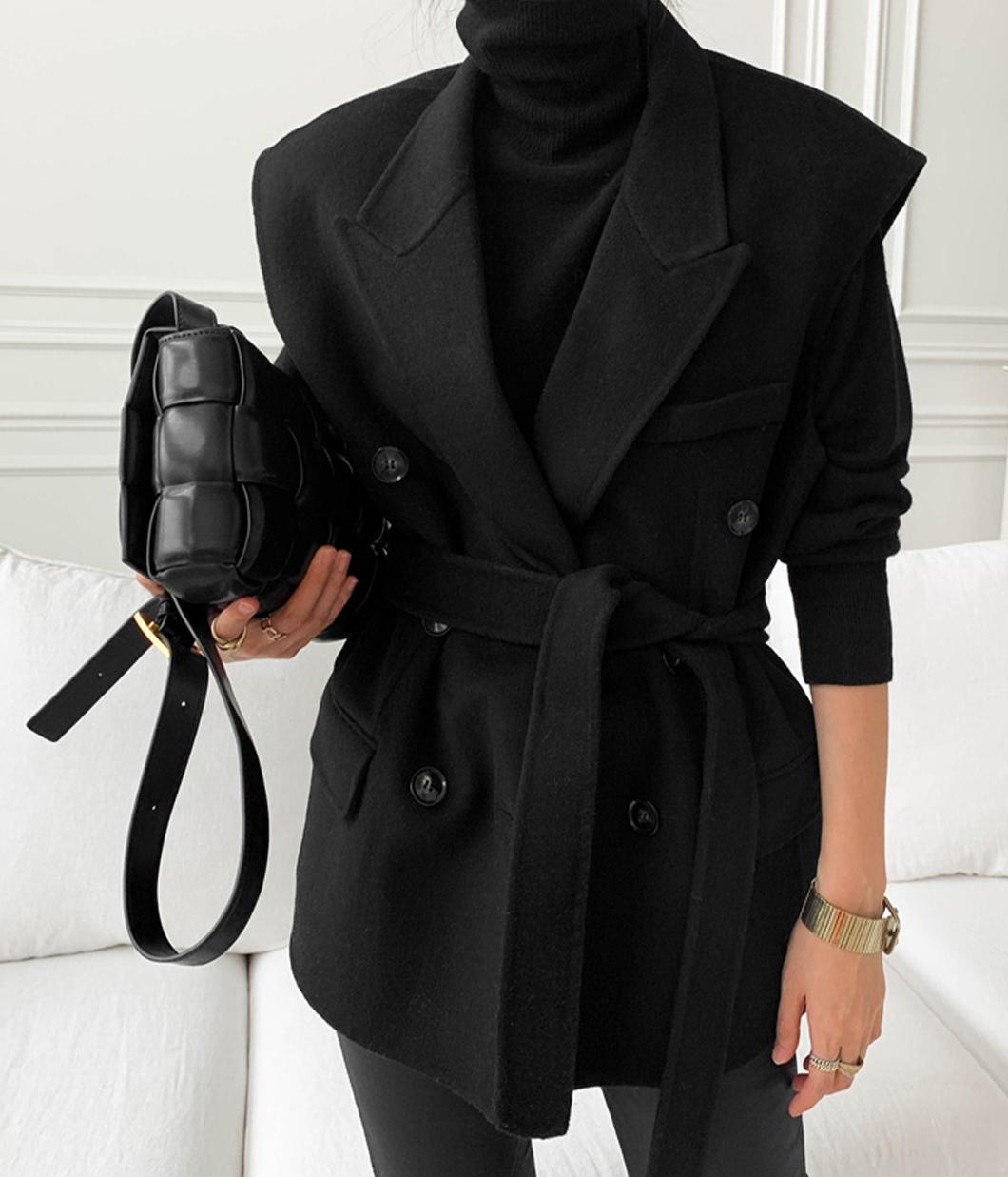 俐落冬日100%羊毛雙排釦背心(附綁帶)