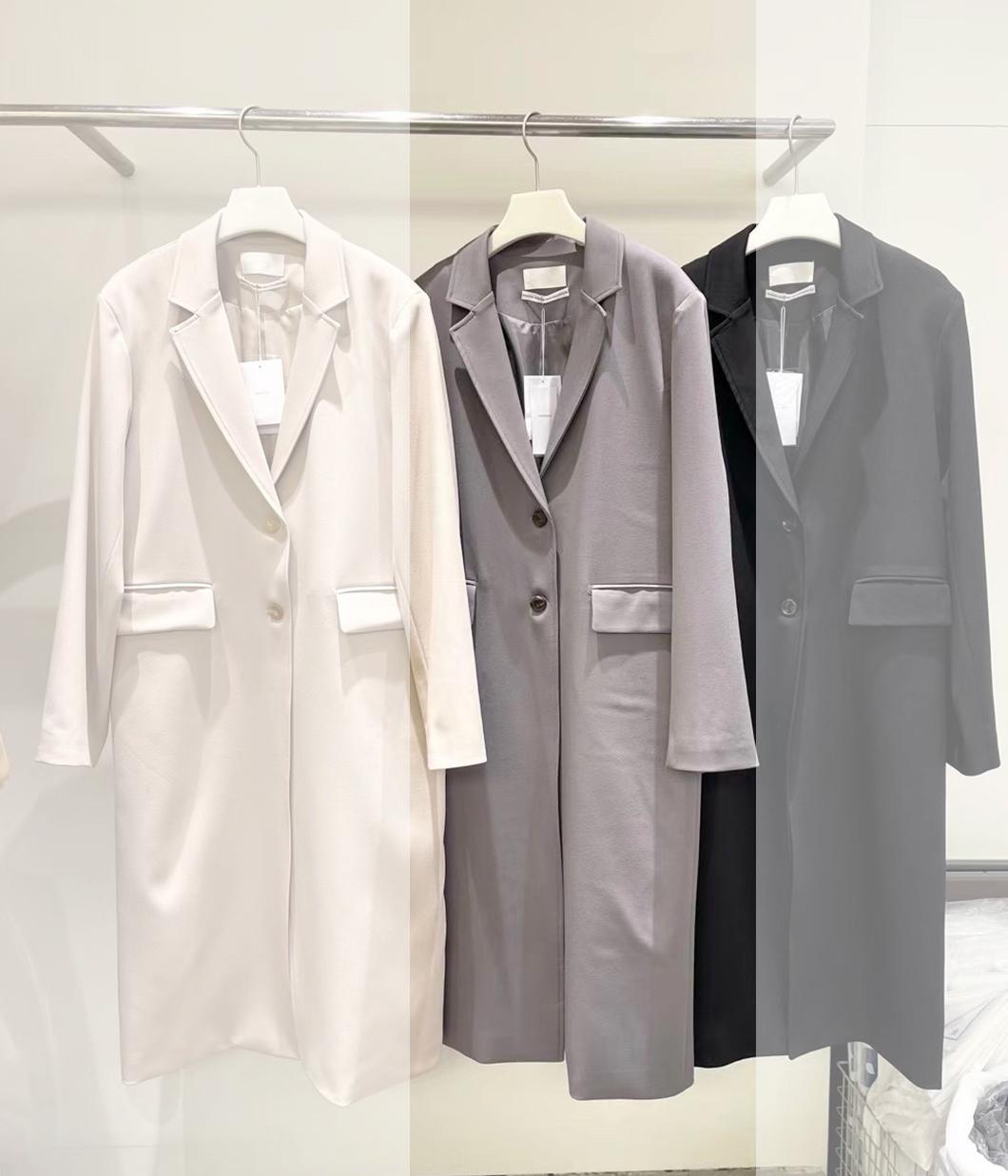 高質感雙釦長版西裝外套