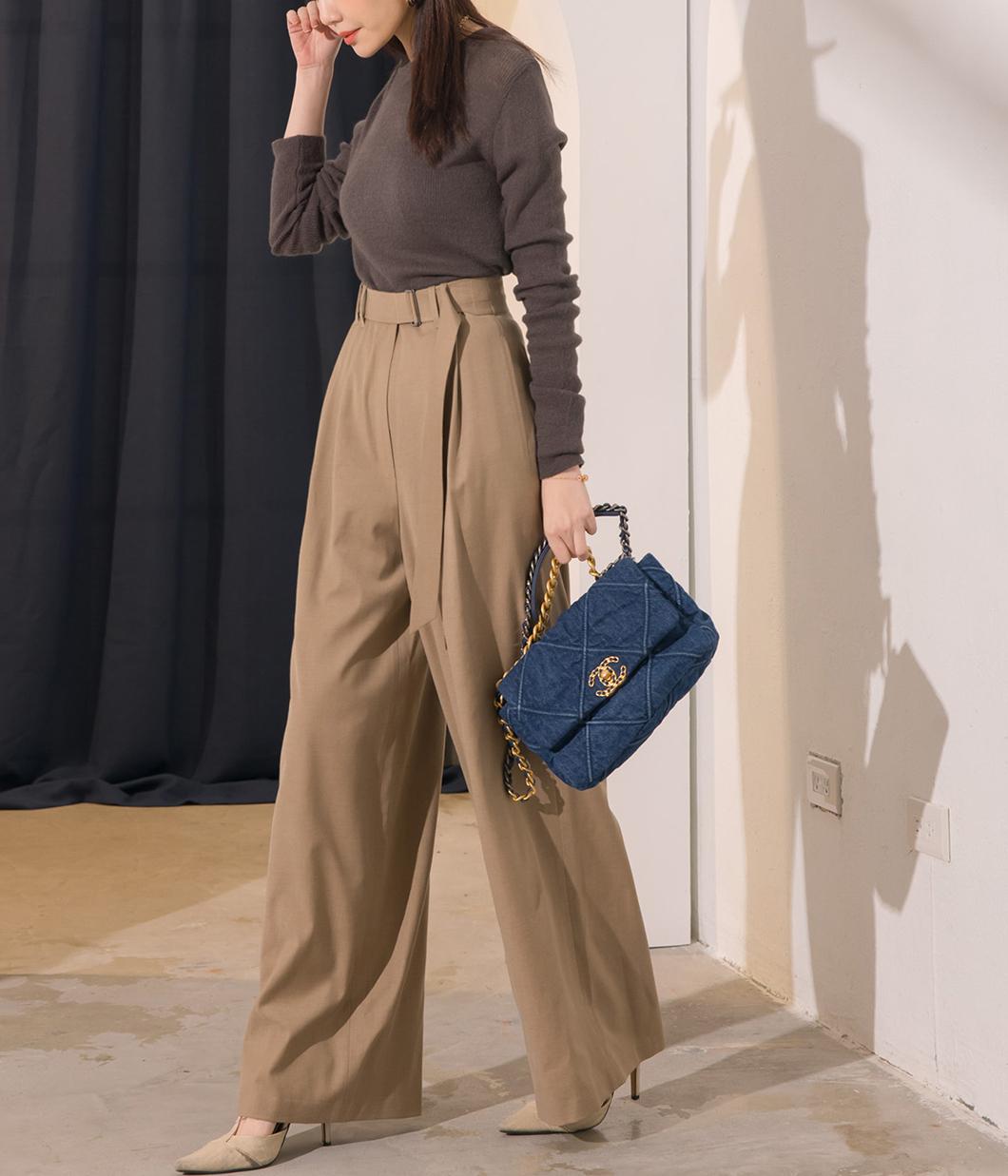 24.腰部釦環設計15%羊毛寬褲