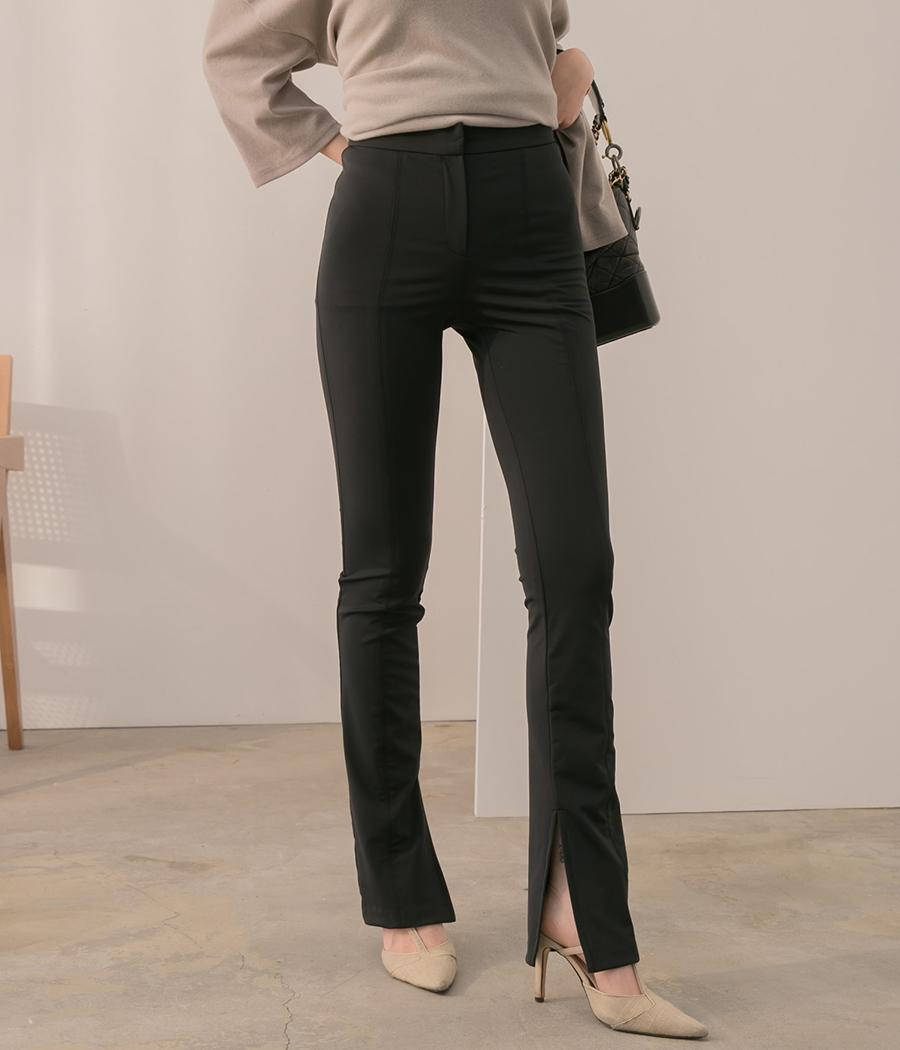2.激瘦剪裁褲口開岔靴型褲