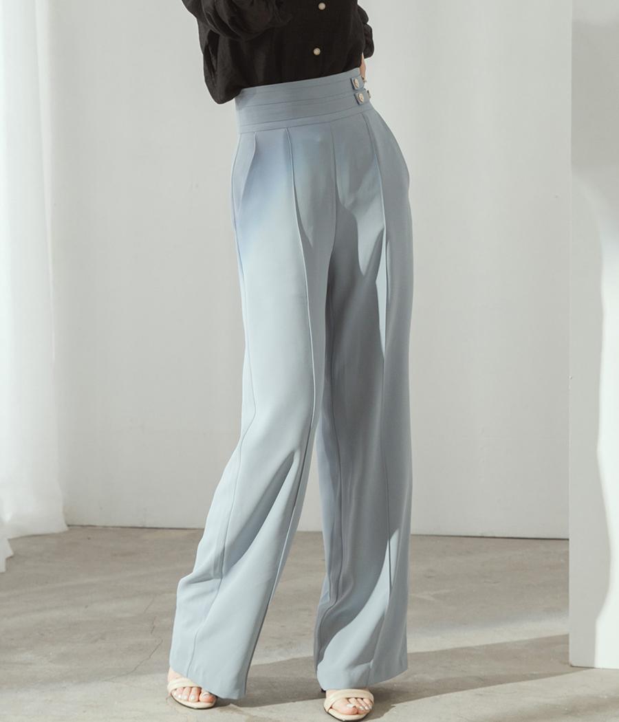 25.高腰側金扣直腿長褲