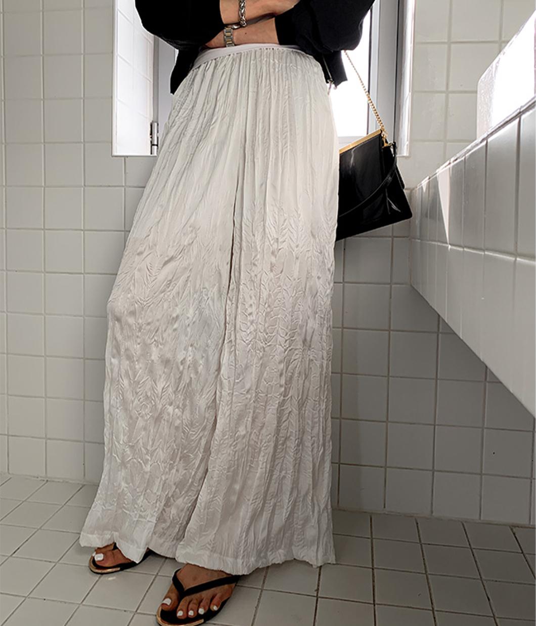 獨特皺皺布落地長褲