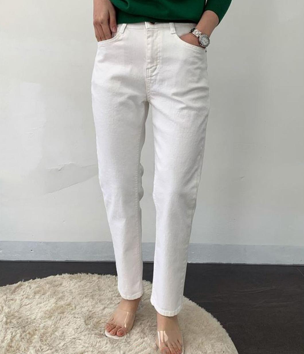 夏日舒適白色單寧長褲
