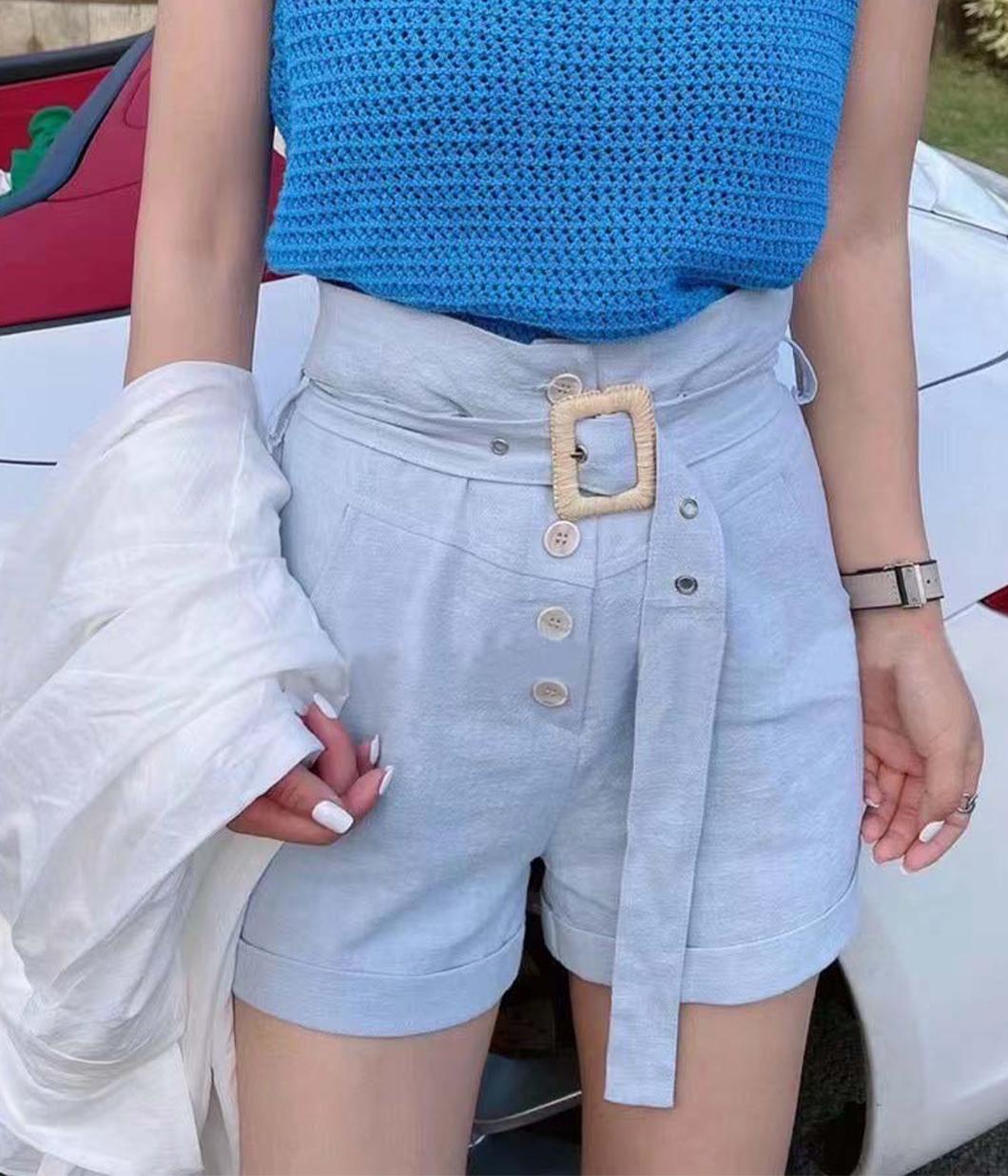 夏日高腰排扣休閒短褲(附腰帶)