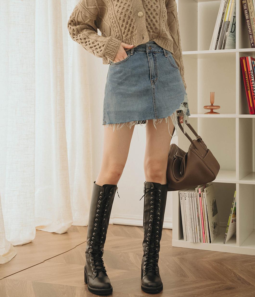 個性不收邊設計牛仔褲裙