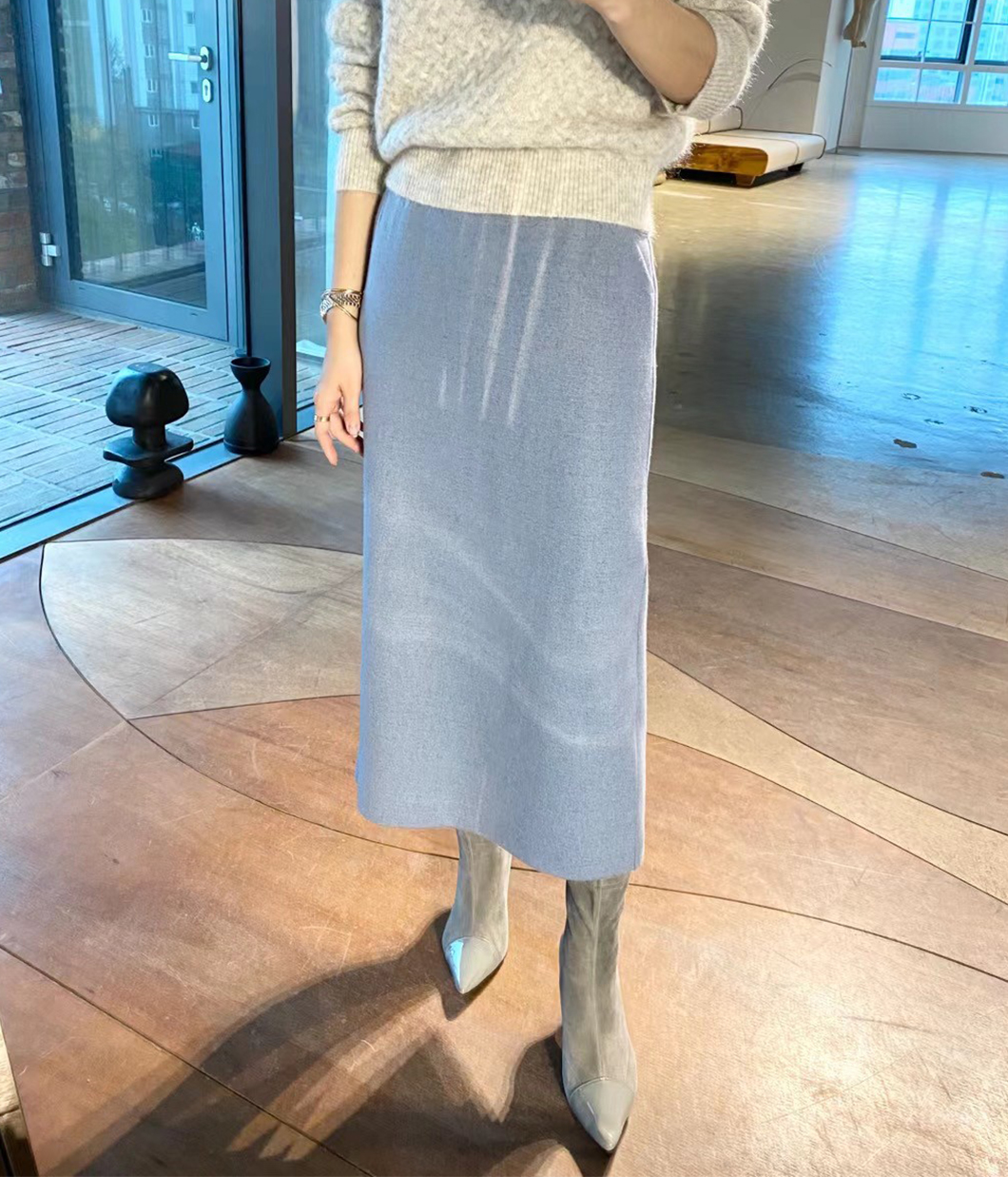 簡約無腰頭70%羊毛窄裙