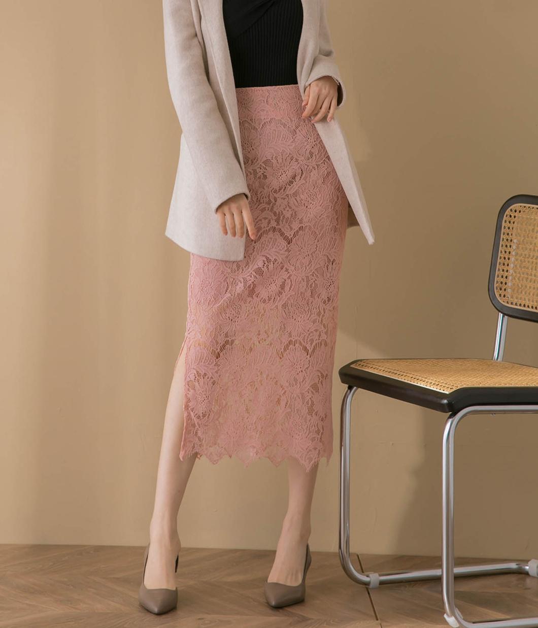 側開岔設計蕾絲窄裙