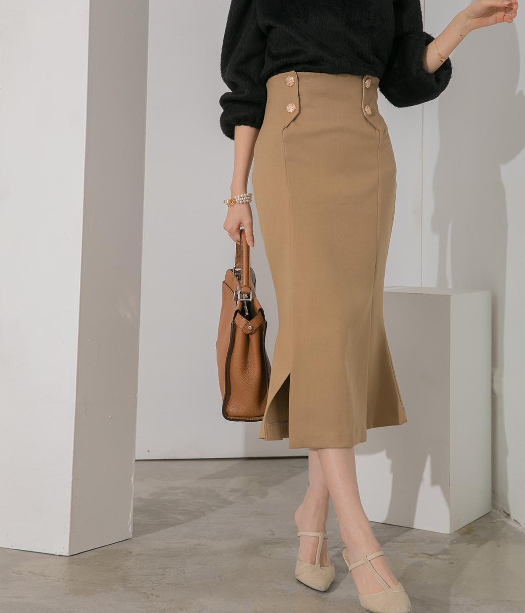 好身材曲線金釦開岔魚尾裙