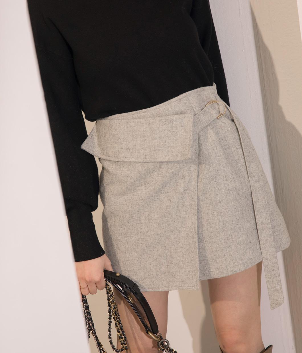 37.率性釦環交疊式毛呢短裙
