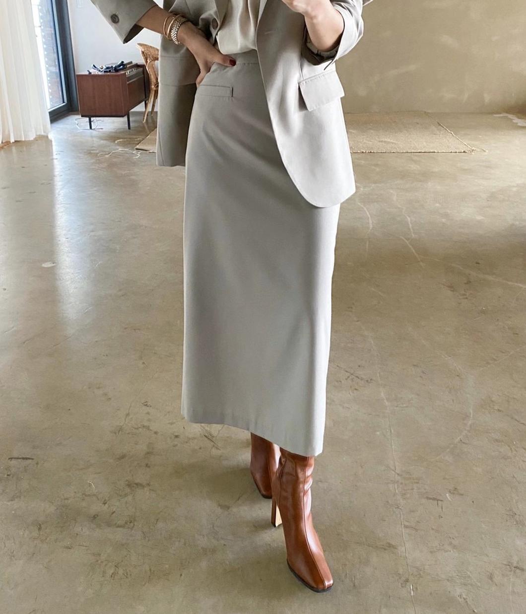 單邊口袋設計天絲鉛筆裙
