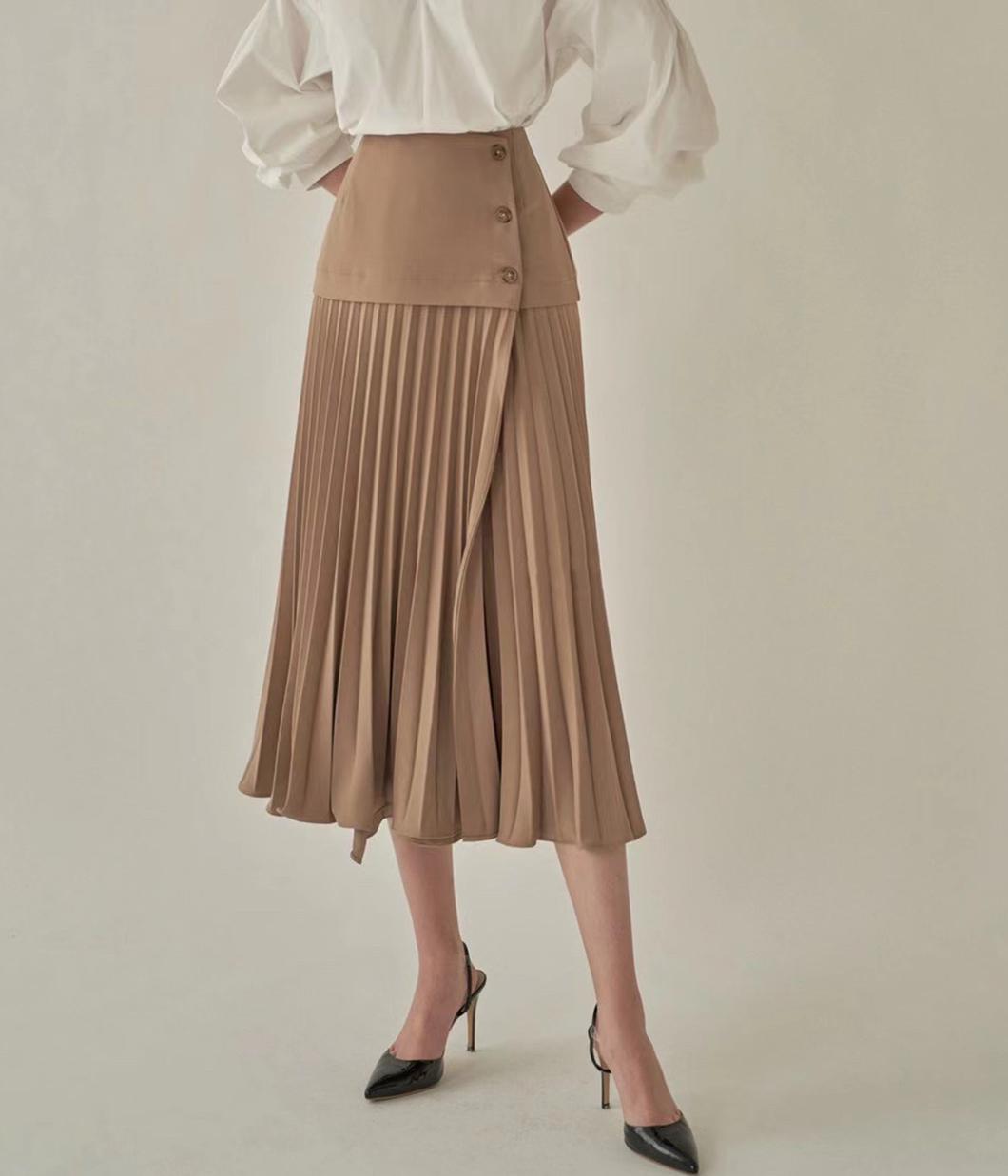 修身剪裁側釦百褶裙