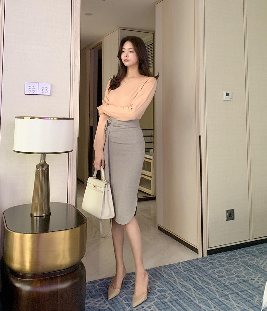 細緻織紋側邊荷葉造型窄裙