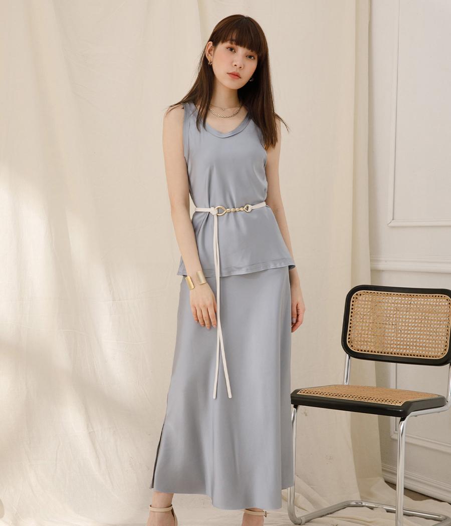 31.溫柔迷人緞面亮感套裝(背心+裙)