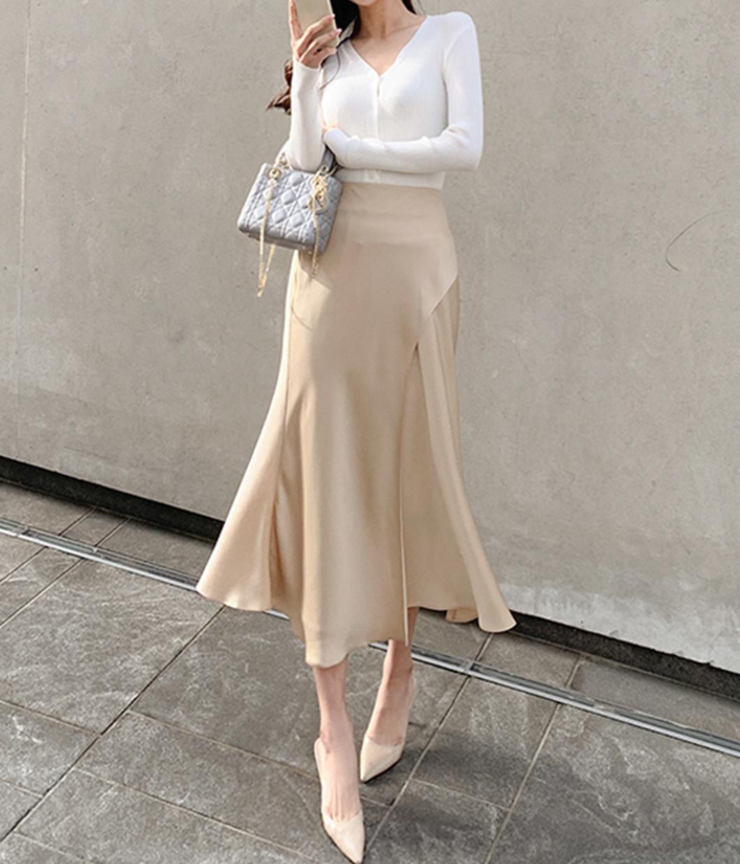 6.氣質斜開岔設計緞面長裙