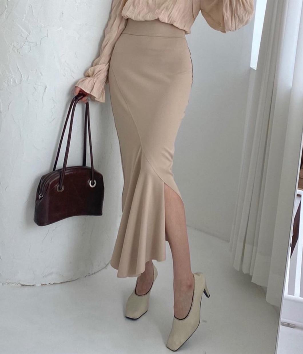 氣質斜開岔下擺設計長裙