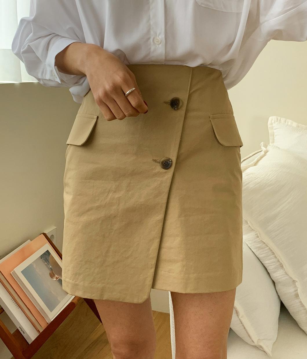 清新高雅雙鈕扣口袋裙