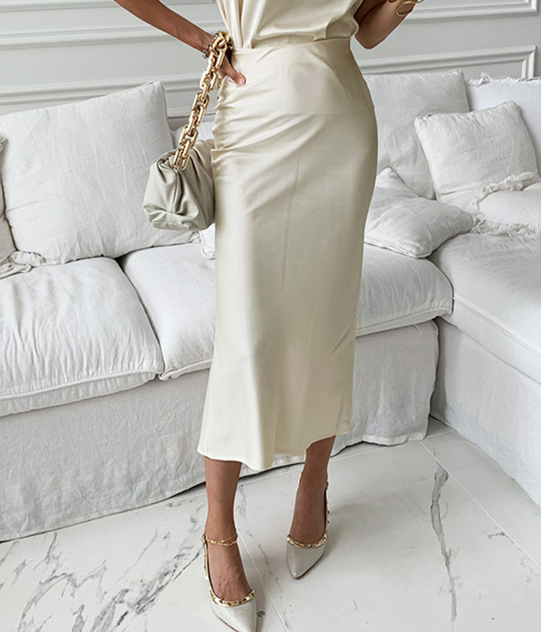 氣質緞面側開岔長裙