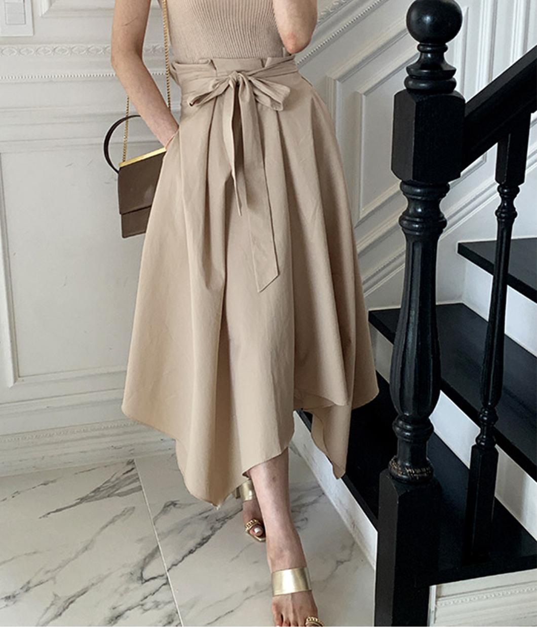 法式浪漫綁帶圓裙
