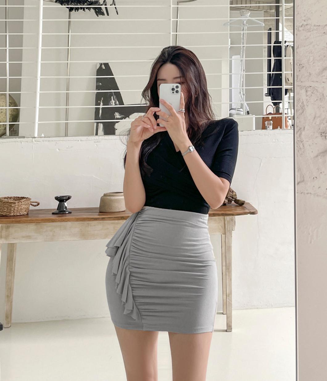 舒適荷葉抓皺棉質短裙