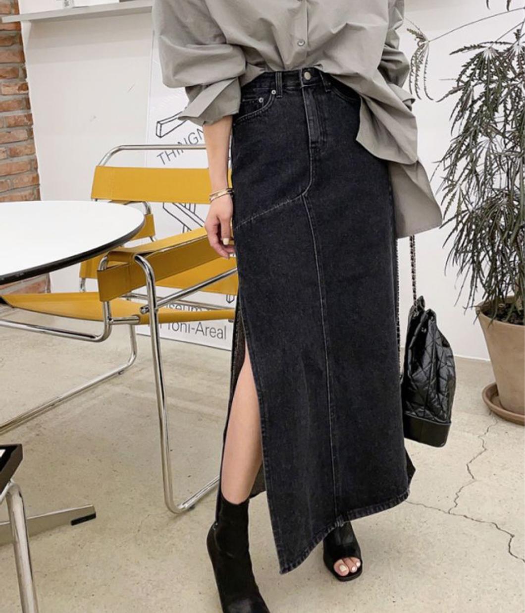 7.剪裁很美的側開岔牛仔裙