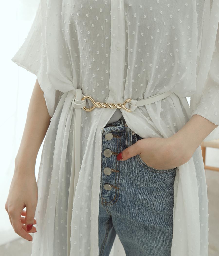 8.金屬扣環雙線皮腰帶