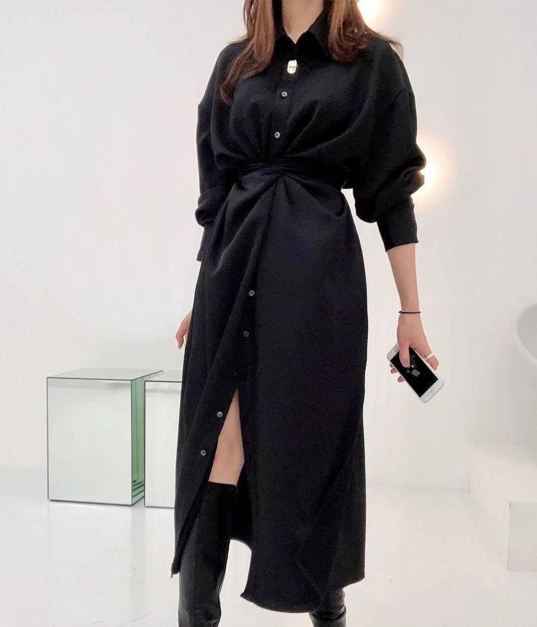 金屬釦設計腰部綁帶洋裝