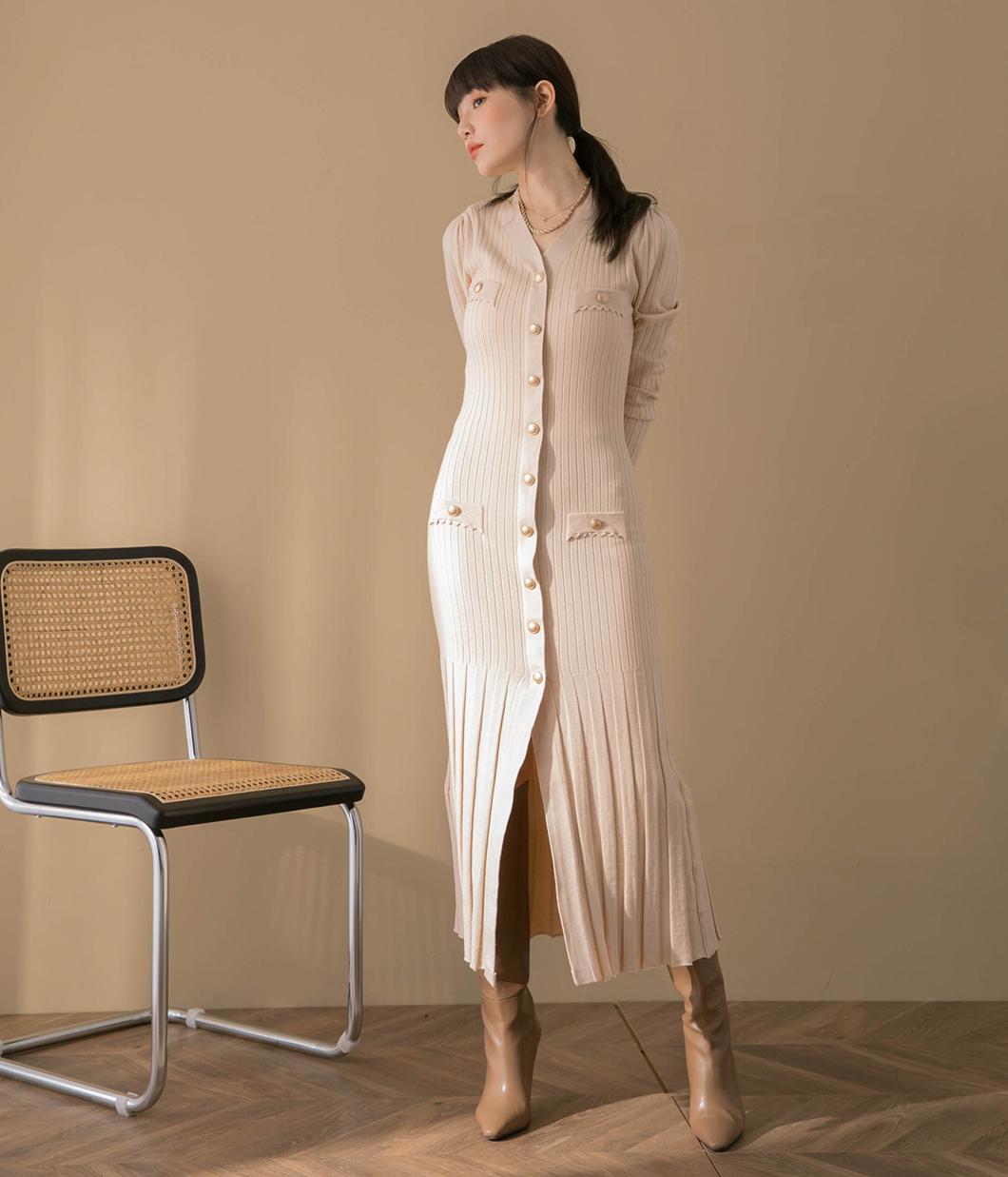 率性金釦針織洋裝