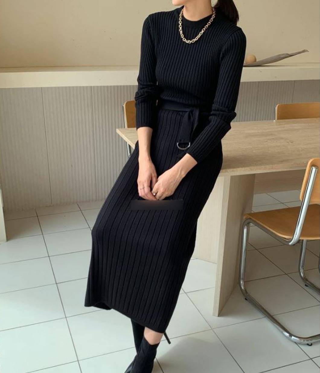 氣質小姐姐坑條針織長洋裝