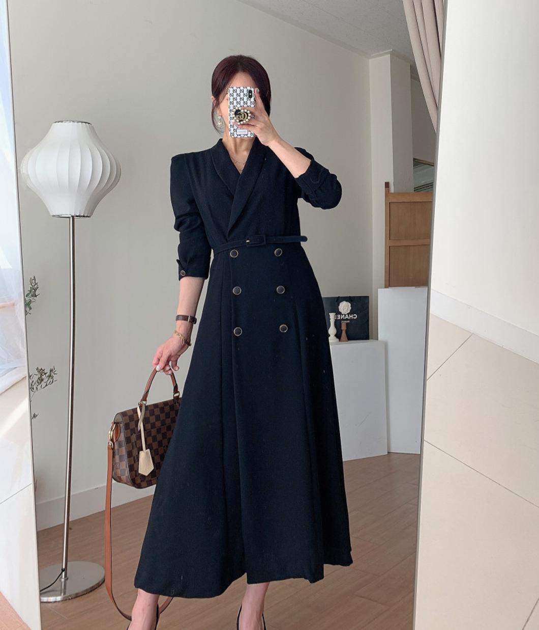 20.素雅雙排釦厚雪紡洋裝(附腰帶)