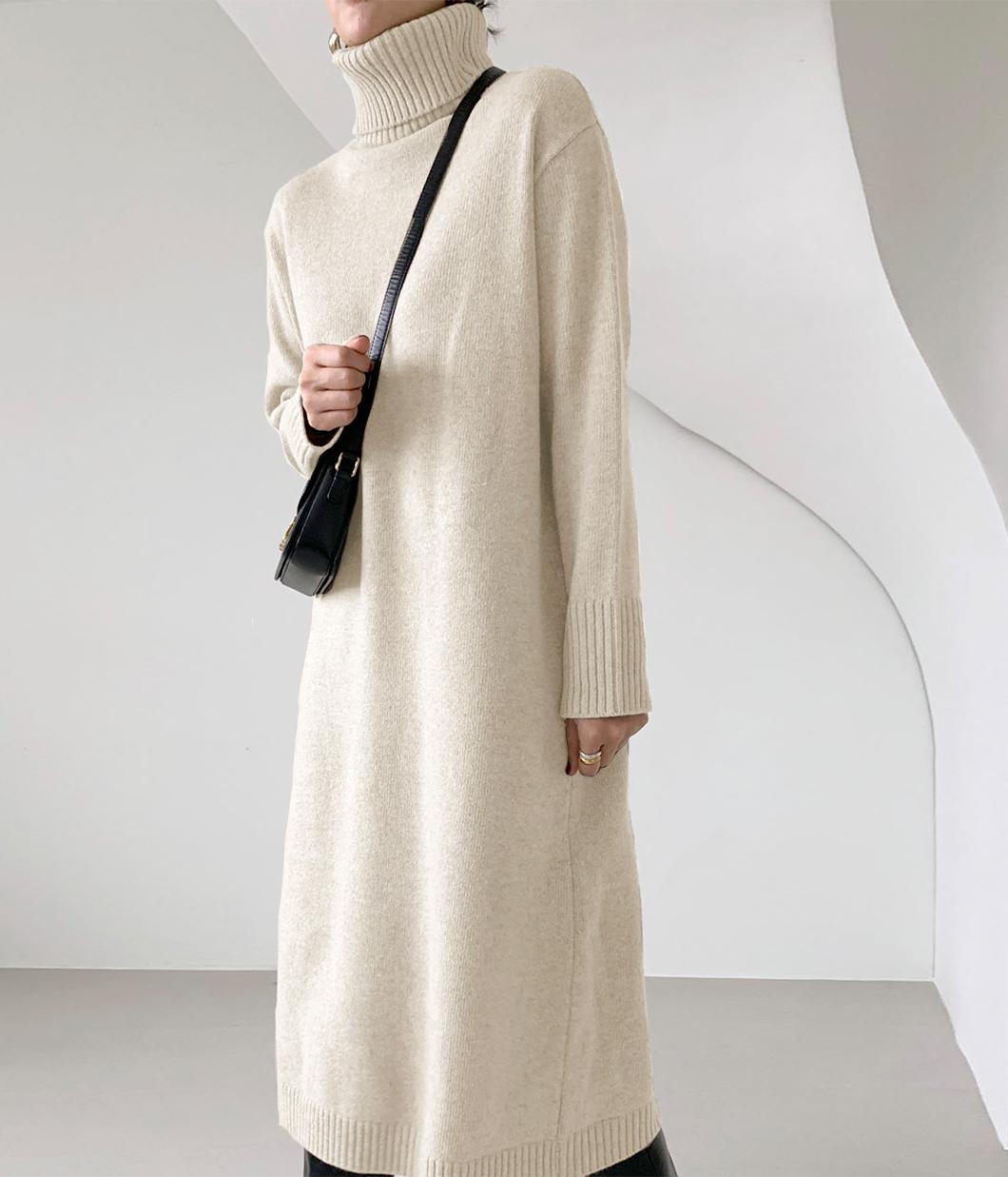 63.日系好感寬鬆高領長洋裝