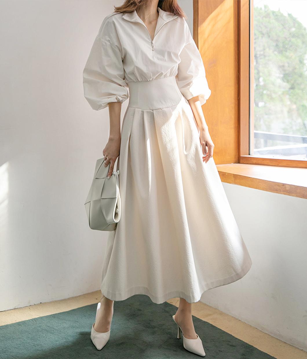 62.典雅迷人澎袖圓裙洋裝