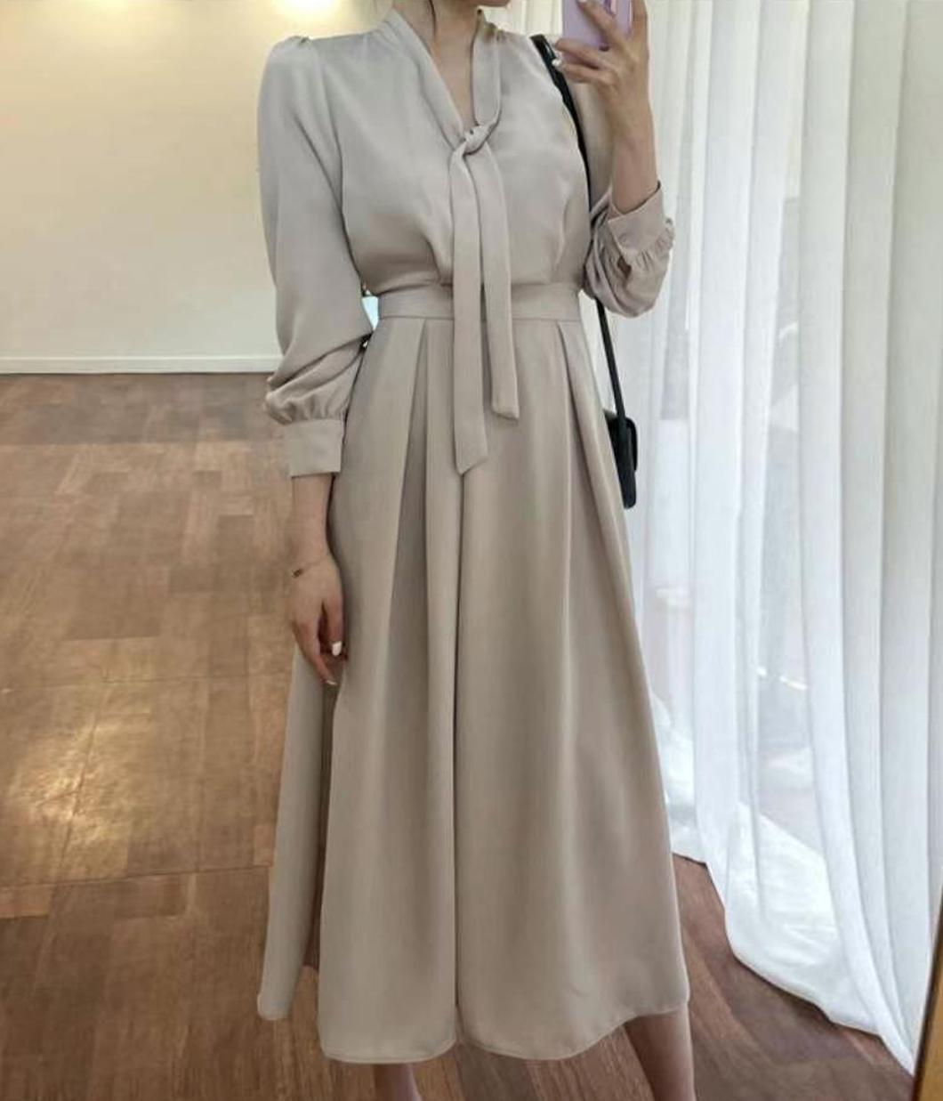 86.優雅氣質領巾收腰洋裝
