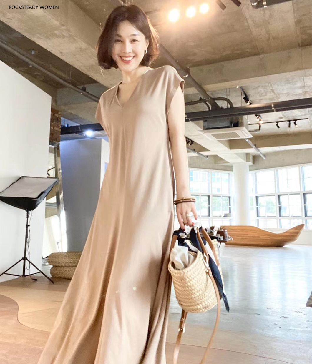 優雅V領修飾棉質洋裝