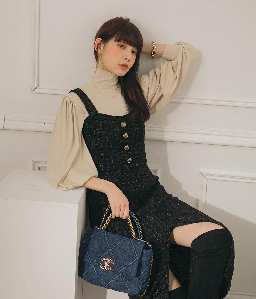 優雅混織金釦背心+長裙SET