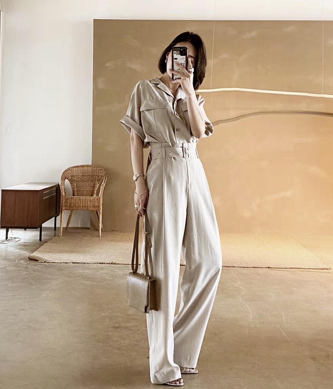 超有型襯衫+率性長褲套裝(附腰帶) 現貨